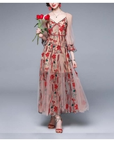 Vicky and Lucas Women's Cocktail Dresses Red - Beige & Red Floral Embroidered Tulle-Overlay Maxi Dress - Women