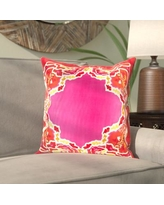 """Bloomsbury Market Alois 100% Silk Square Throw Pillow Cover BBMT9406 Size: 22"""" H x 22"""" W x 0.25"""" D, Color: Pink\Red"""