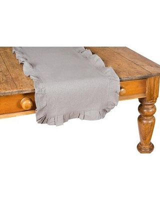 """Xia Home Fashions Ruffle Trim Table Runner, Polyester in Brown, Size 16"""" W x 72"""" L 