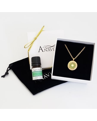 Dream Catcher Valentine's Day Gift for Her Girlfriend Wife Diffuser Crystal Rhinestone Necklace & Organic Essential Oil Aromatherapy Jewelry Gift Set - Gold Necklace & Peppermint Oil