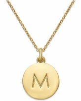 """Kate Spade New York 12k Gold-Plated Initials Pendant Necklace, 17"""" + 3"""" Extender - M"""