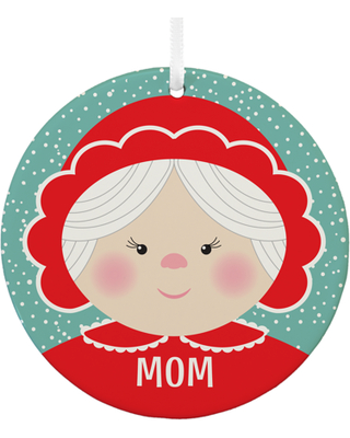 Personalized Festive Faces Round Christmas Ornament- Mrs. Claus