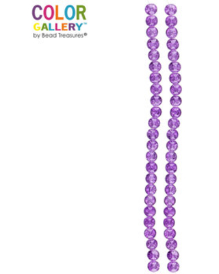 Purple Round Cracked Glass Bead Strands - 8mm