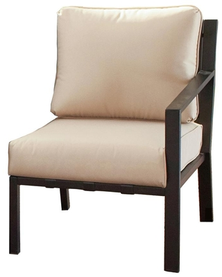 Patio Festival Metal Outdoor Left-Arm Lounge Chair with Beige Cushion