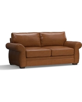 """Pearce Leather Sofa 81"""", Down Blend Wrapped Cushions, Leather Signature Maple"""