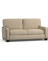 """Turner Square Arm Upholstered Loveseat 74"""" with Bronze Nailheads, Down Blend Wrapped Cushions, Twill Parchment"""
