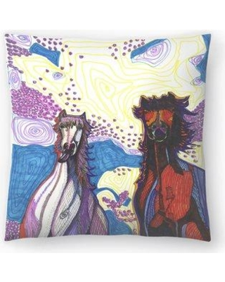 "East Urban Home Horses First Date Throw Pillow FUIG3055 Size: 16"" x 16"""