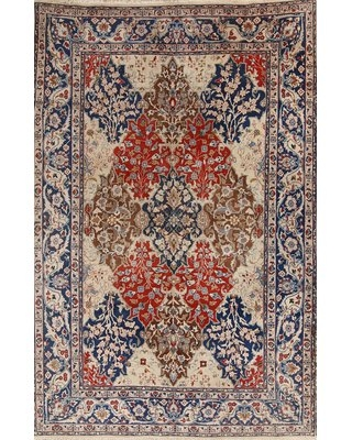 "One-of-a-Kind Stonge Tabriz Persian Hand-Knotted 6'9"" x 9'9"" Wool Red/Blue Area Rug Isabelline"