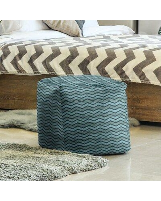 East Urban Home Wavy Chevrons Cube Ottoman W001706109 Upholstery Color: Black/Teal
