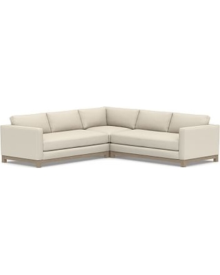 Jake Upholstered 3-Piece L-Shaped Corner Sectional with Wood Legs, Polyester Wrapped Cushions, Textured Basketweave Flax