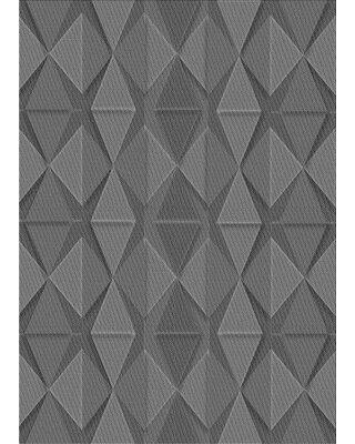 East Urban Home Abstract Wool Gray Area Rug X113616652 Rug Size: Round 4'