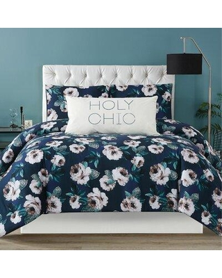 Christian Siriano New York Mags Comforter Set, Polyester/Polyfill/100% Cotton in Blue/White, Size Full/Queen Comforter + 2 Shams | Wayfair