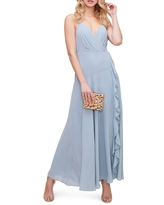 Women's Astr The Label Floral Ruffle Detail Maxi Dress, Size Small - Blue