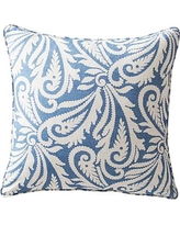"""Wynnfield Paisley Print Pillow Cover, 20"""", Harbor Blue/Ivory"""