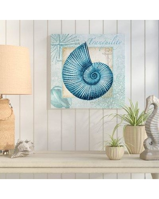 "Highland Dunes 'Aqua Shell: Nautilus' Graphic Art Print on Wrapped Canvas HLDS6727 Size: 48"" H x 48"" W"