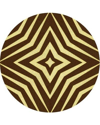 East Urban Home Patterned 3870 Yellow Area Rug X113672947 Rug Size: Round 4'