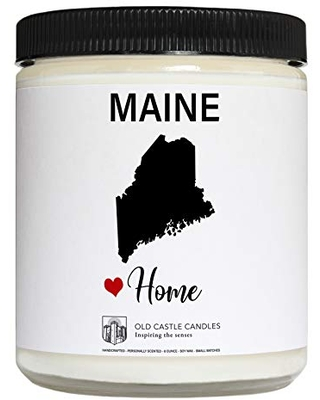 Maine Candle, Homesick Gift, Personalized College Dorm Decor, 8 ounce
