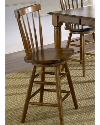 """Creations II Collection 38-B1730 30"""" Copenhagen Barstool with Spindle Back Swivel Seat and Nylon Chair Glides in Tobacco"""