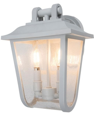 Lutec Coastal Providence 2 Light White Outdoor Wall Lantern Sconce From Home Depot Bhg