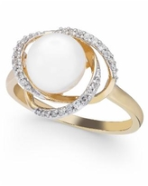 Honora Cultured Freshwater Pearl (8mm) & Diamond (1/8 ct. t.w.) Ring in 14k Gold - Yellow Gold