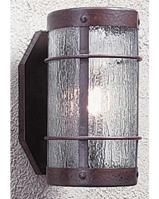 "Arroyo Craftsman Valencia 1-Light Wall Sconce VS-NR Size: 14.25"" H x 7.63"" W x 11"" D Color: Raw Copper Shade Color: Rain Mist"