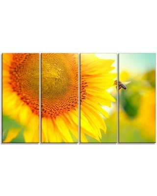 """Design Art 'Beautiful Sunflowers Blooming' 4 Piece Photographic Print on Wrapped Canvas Set, Canvas & Fabric in Brown/Yellow, Size Medium 25""""-32"""""""
