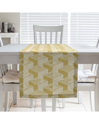 Classic Skyscrapers Pattern Table Runner (16 x 72 - Polyester - Yellow)