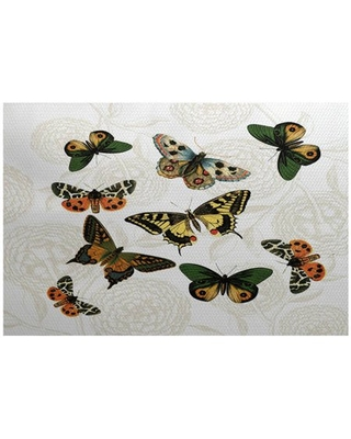 Simply Daisy 3' x 5' Antique Butterflies And Flowers Animal Print Indoor Rug