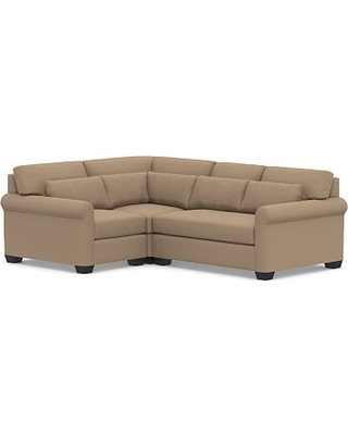 York Roll Arm Upholstered Deep Seat Right Arm 3-Piece Corner Sectional with Bench Cushion, Down Blend Wrapped Cushions, Performance Plush Velvet Camel
