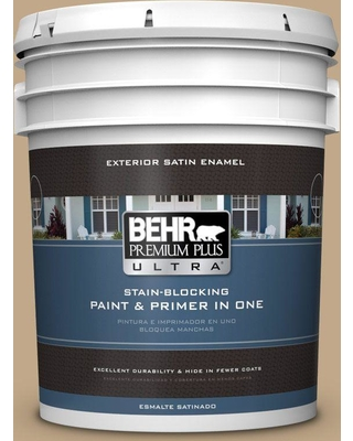 BEHR ULTRA 5 gal. #T16-16 Symphony Gold Satin Enamel Exterior Paint and Primer in One