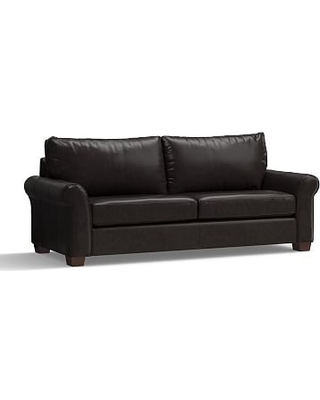 """PB Comfort Roll Arm Leather Grand Sofa 94"""", Polyester Wrapped Cushions, Leather Vintage Midnight"""