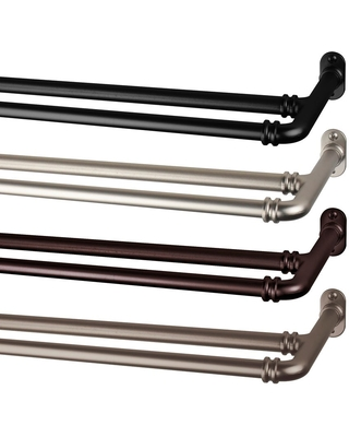 InStyleDesign 5/8 inch Double Blackout Curtain Rod (28-48 inches - Cocoa)
