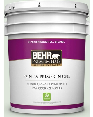 BEHR Premium Plus 5 gal. #S390-1 Sounds of Nature Eggshell Enamel Low Odor Interior Paint and Primer in One
