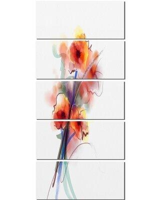 Design Art 'Soft Color Flowers on White Background' 5 Piece Painting Print on Wrapped Canvas Set PT15052-401V