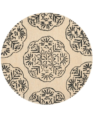 Safavieh Bella Ivory/Charcoal 5 ft. x 5 ft. Round Area Rug