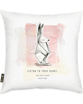 Ebern Designs Ames Origami Rabbit Decorative Throw Pillow BF126394 Color: Pink/Gray