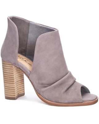 42 Gold Loyalty Open Toe Bootie, Size 6.5 in Grey Suede at Nordstrom