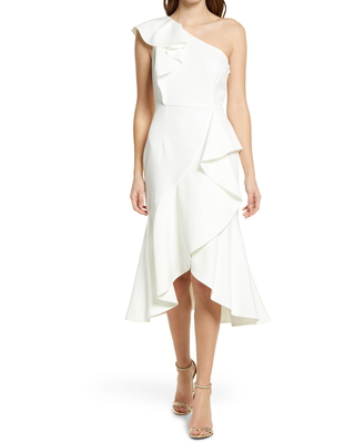 Women's Vince Camuto One-Shoulder Ruffle High/low Cocktail Dress, Size 6 - Ivory