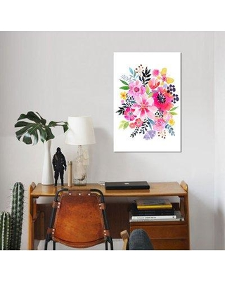 """East Urban Home 'Floral Burst' Graphic Art Print on Wrapped Canvas ESUH7558 Size: 18"""" H x 12"""" W x 1.5"""" D"""