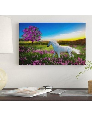 "Winston Porter 'Purple Land' Oil Painting Print on Wrapped Canvas WNST7323 Size: 30"" H x 47"" W"