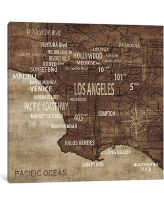 """East Urban Home 'Map of Los Angeles' Graphic Art Print on Canvas ESUR8216 Size: 37"""" H x 37"""" W x 1.5"""" D"""