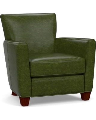 Irving Square Arm Leather Recliner, Polyester Wrapped Cushions, Legacy Forest Green