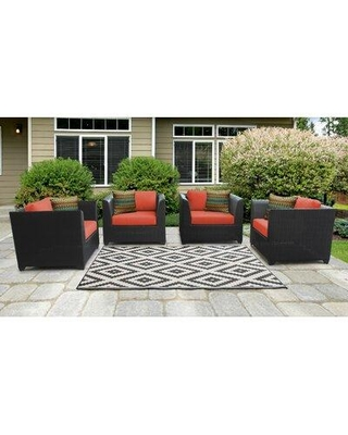 Sol 72 Outdoor Tegan Patio Chair with Cushions W002146310 Cushion Color: Tangerine