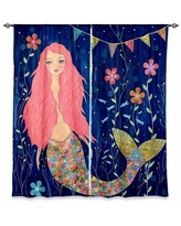 """Zoomie Kids Bennett Graphic Print & Text Room Darkening Curtain Panels Size per Panel: 20"""" W x 52"""" L, Synthetic in Pink/Aqua/Blue, Size 82""""H X 80""""W"""