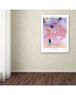 """Trademark Art 'Raining Cats and Dogs' Graphic Art Print on Canvas SG05808-C Size: 32"""" H x 24"""" W x 2"""" D"""