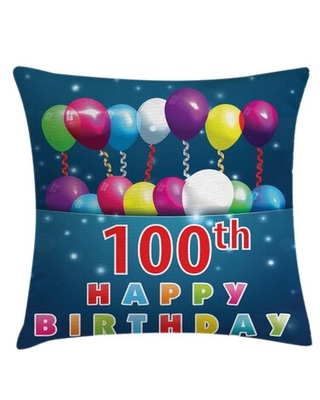 """100th Birthday Indoor / Outdoor 36"""" Throw Pillow Cover East Urban Home"""