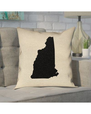 """Ivy Bronx Katelyn Smith State in Black in Faux Linen Double Sided Print/Throw Pillow W000786486 Size: 16"""" x 16"""" State: New Hampshire"""