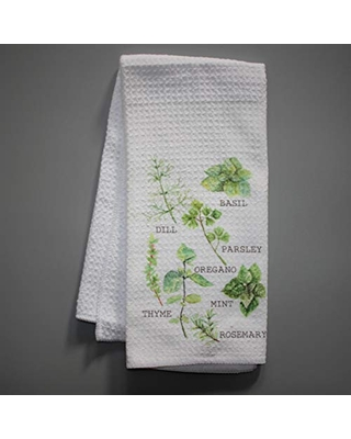 Watercolor Kitchen Herbs Chef Waffle Weave Kitchen Towel Drying Cloth 16inch X 24inch White