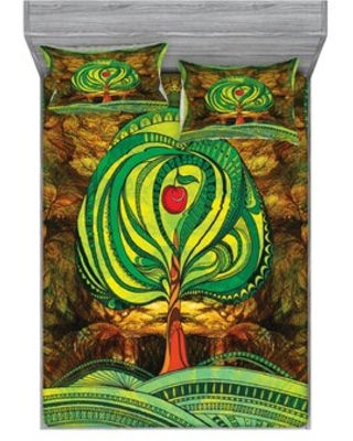 Apple Tree in Vivid Tones with Rotary Lines Pop Sheet Set East Urban Home