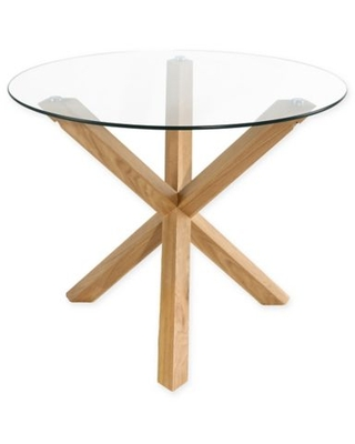 Poly and Bark Kennedy Wood and Glass Dining Table in Oak
